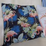 coussin tissu flamant rose