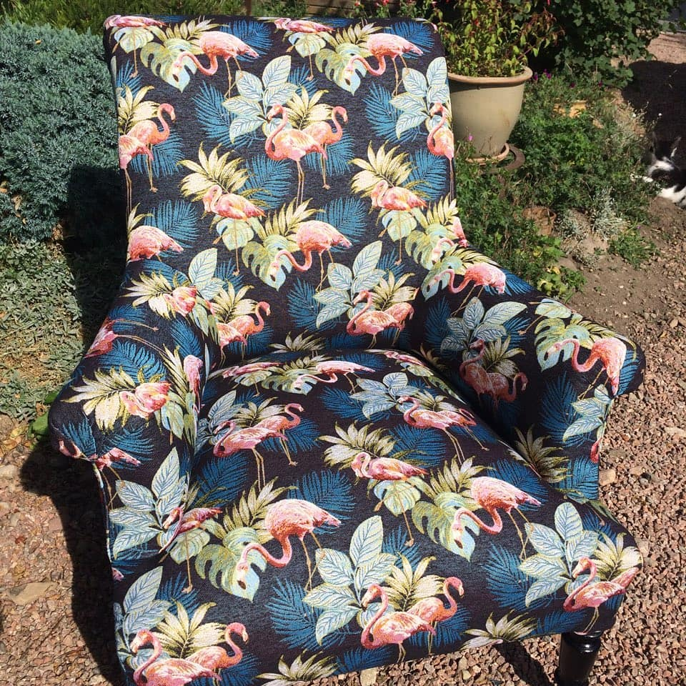 fauteuil anglais flamant roses